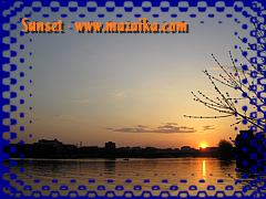 Cropped photo with borders and text. Sunset over the Iset river. (Click for a larger picture)