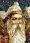 Mosaic Santa from old postcards. See Zoom and Pan mosaic.